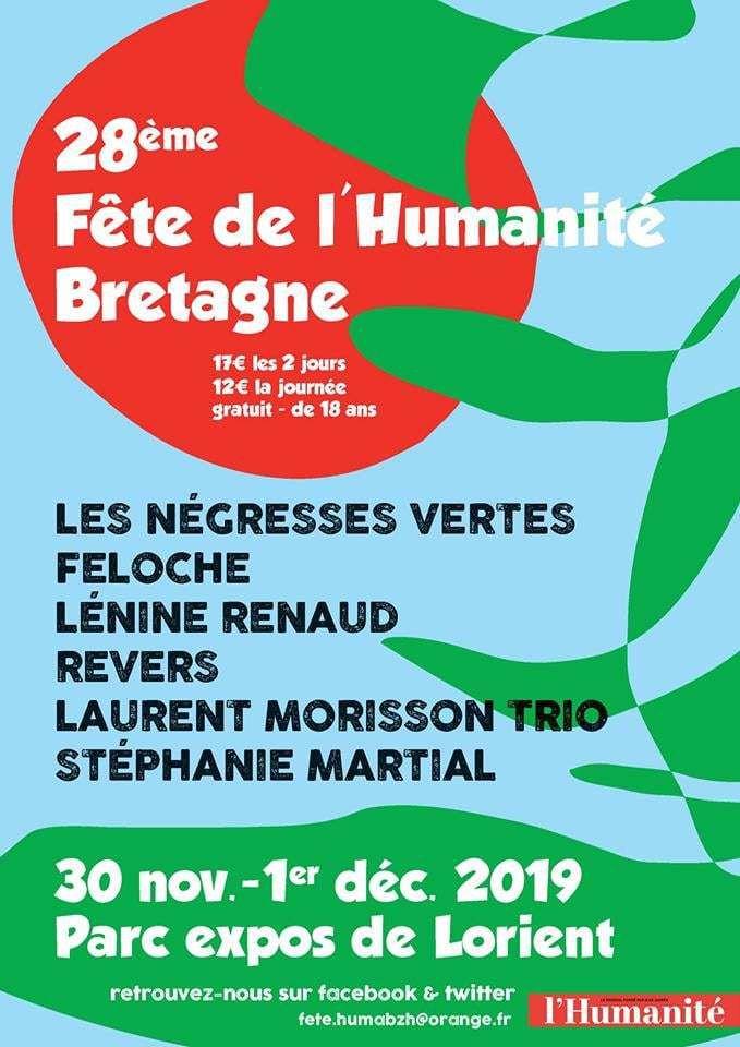 Samedi 30 novembre - Dimanche 1er Décembre: programme de la fête de l'Humanité Bretagne 2019 à Lanester (parc des expos de Lorient)