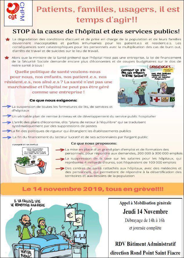 Hôpital de Morlaix. Journée de mobilisation le 14 novembre (Le Télégramme, 5 novembre 2019)