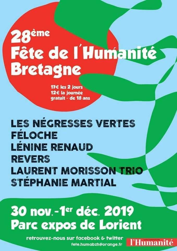 Fête de l'Humanité Bretagne - Table ronde sur l'accueil des migrants avec RESF, la Cimade, Utopia 56, SOS Méditeranée à 11h samedi 30 novembre (parc des expos de Lorient)