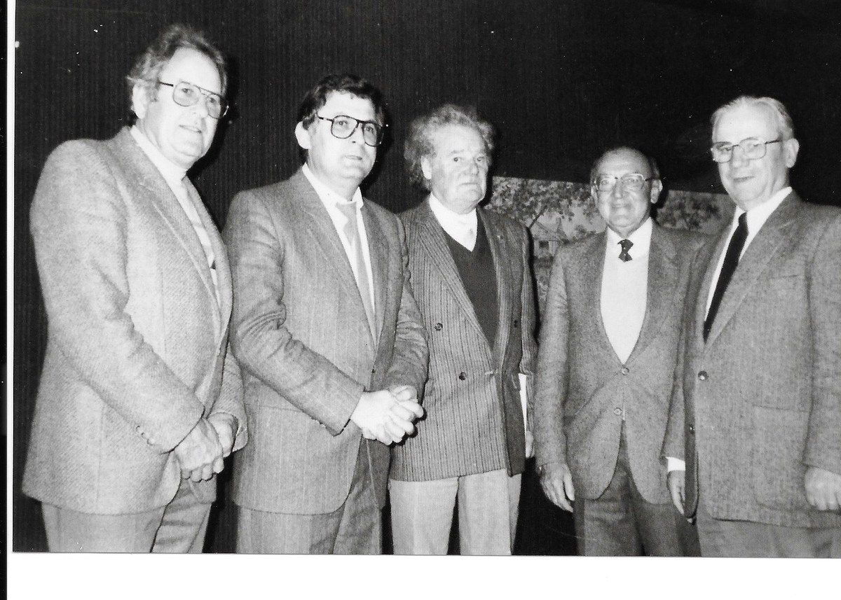 Paul Le Gall, Piero Rainero, Daniel Trellu (ancien chef FTP du Finistère), Pierre Le Rose, Gaston Plissonnier (archives Pierre Le Rose)