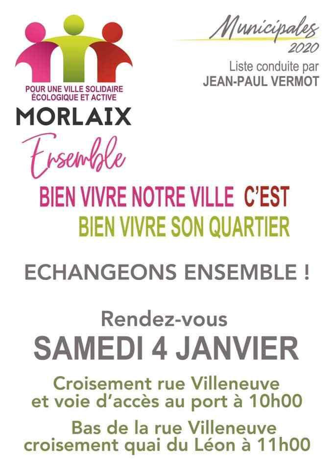 Rencontres de quartier: Morlaix Ensemble donne rendez-vous aux habitants du centre-ville et des alentours de la rue Villeneuve le samedi 4 janvier