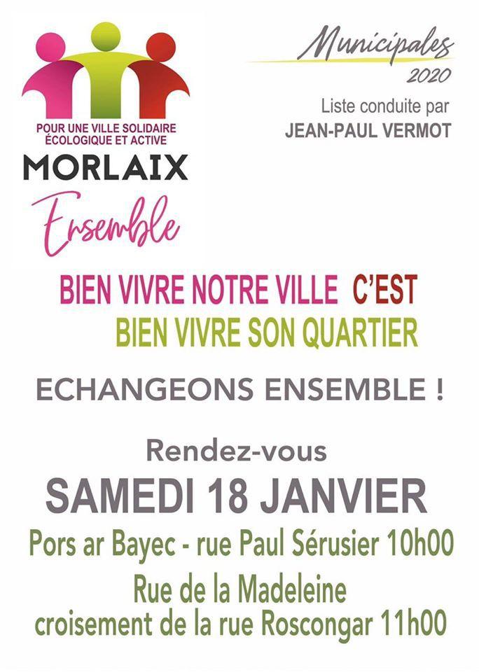 Samedi 18 janvier: la liste Morlaix Ensemble rencontre les habitants du quartier de la Madeleine