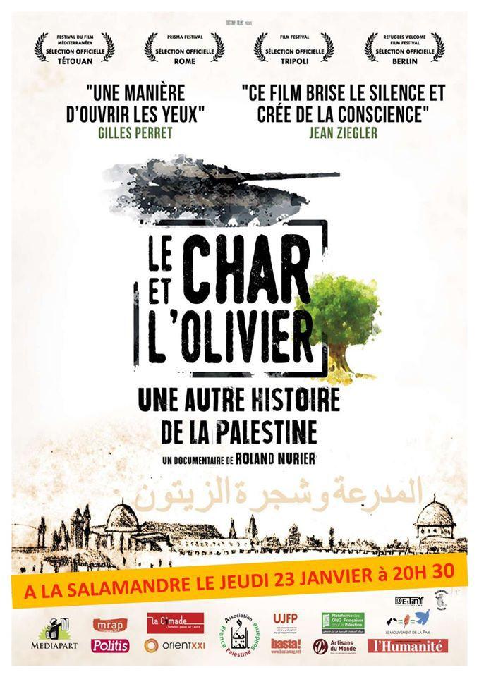 Jeudi 23 janvier à 20h30: Ciné-débat à La Salamandre: Le char et l'olivier, une autre histoire de la Palestine - avec le réalisateur Roland Nurier invité de l'AFPS et de la Salamandre