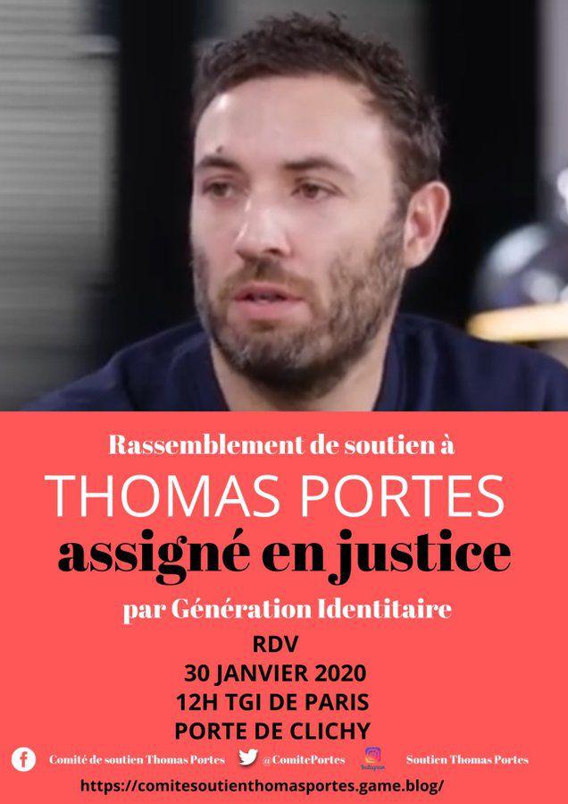 Soutien à notre camarade Thomas Portes mis en procès par le groupuscule d'extrême droite Génération Identitaire.
