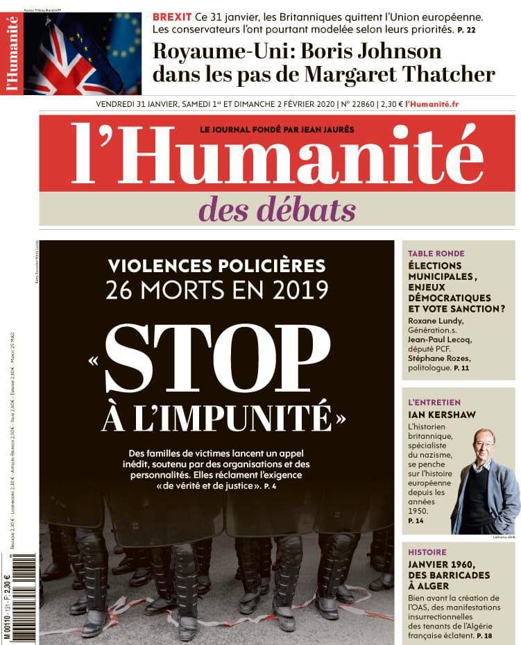 Violences policières - le cri de colère des familles de victimes - Laissez nous respirer (L'Humanité, 31 janvier 2020)