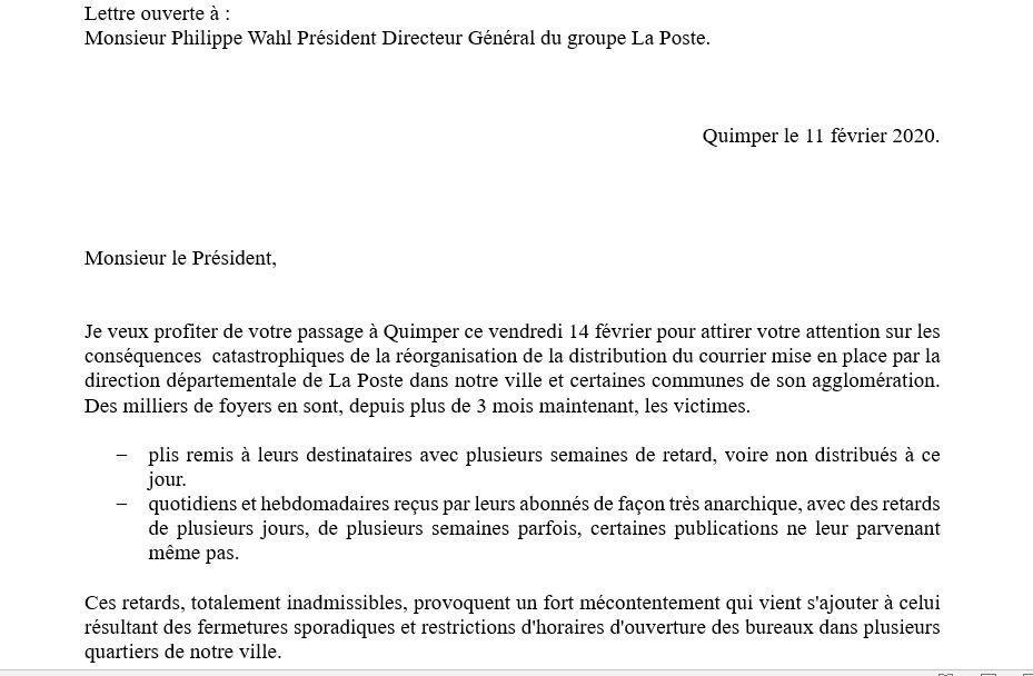 Délabrement du service public postal - Lettre ouverte de Piero Rainero conseiller municipal et communautaire PCF de Quimper