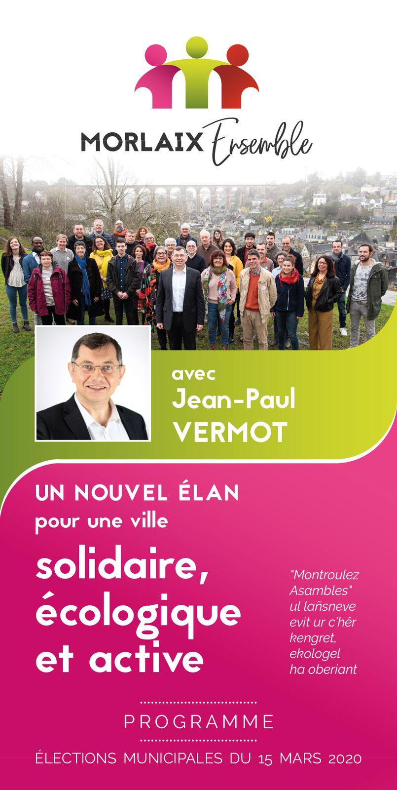 Le programme de Morlaix Ensemble - Pour une ville solidaire, écologique, active