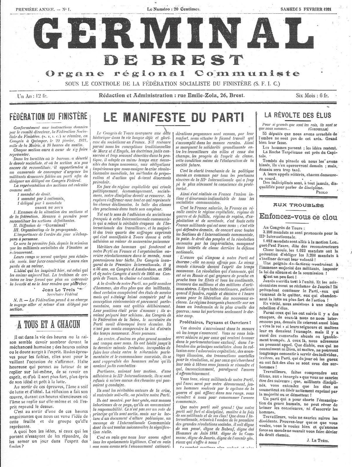 1920-2020: Cent ans d'engagements communistes en Finistère: 69/ Jean Le Tréis (1884-1970)