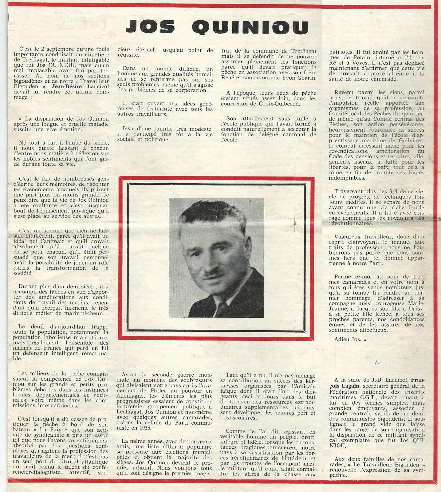 Le Travailleur Bigouden: septembre-octobre 1976 - Journal du PCF Pays Bigouden