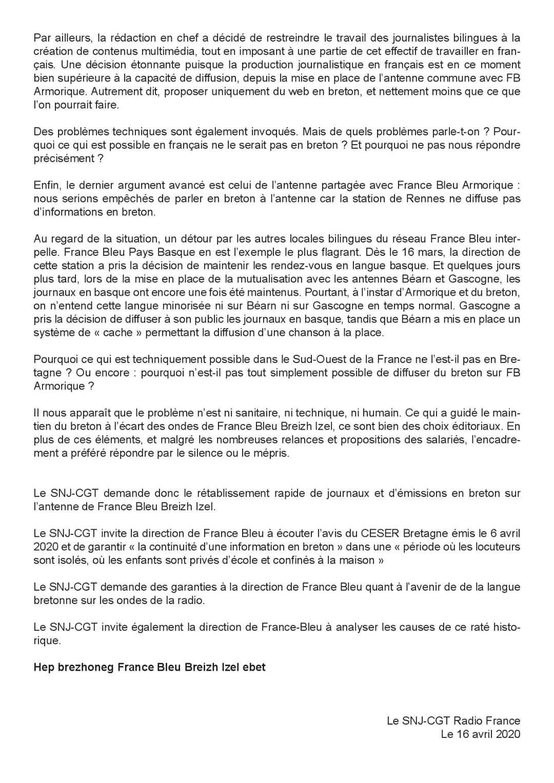 Silence radio: le breton ne s'écoute plus sur France Bleu Breizh Izel (SNJ CGT)