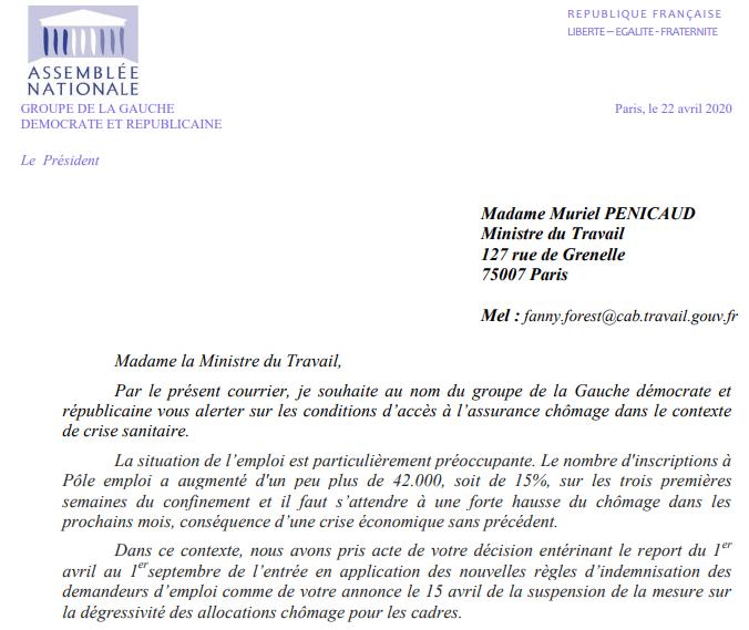 André Chassaigne demande le retrait total de la réforme de l'assurance chômage à Muriel Penicaud, ministre du travail
