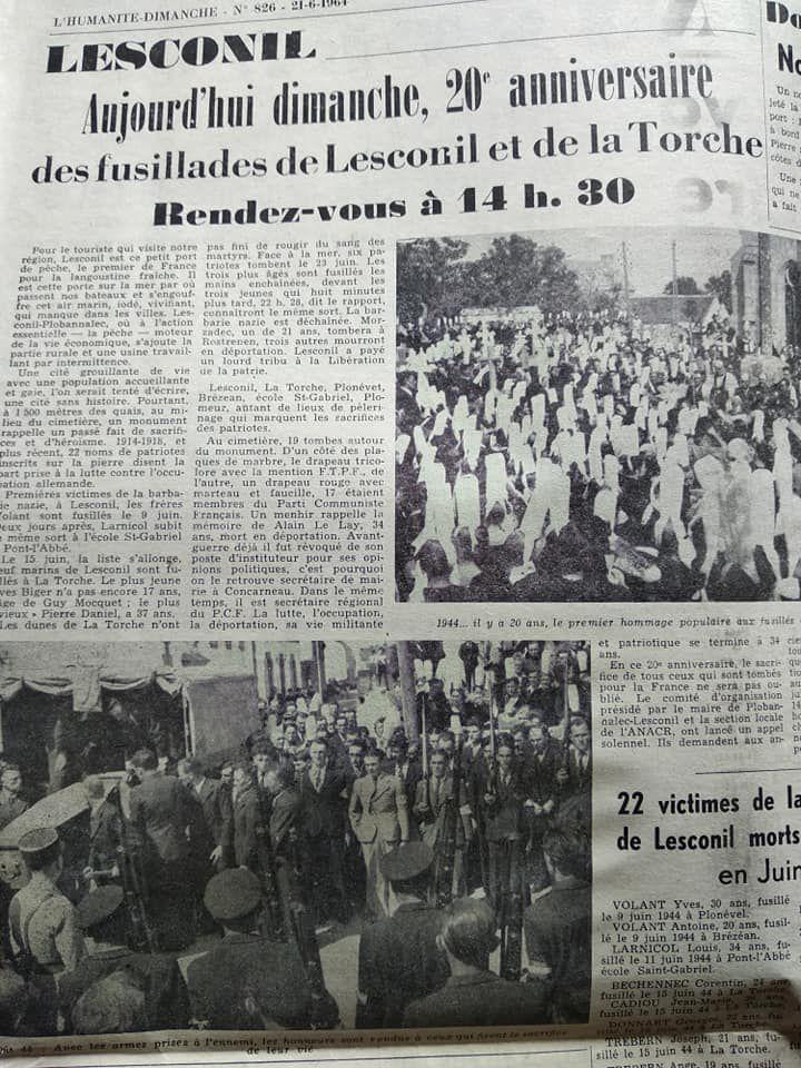1920-2020: 100 ans d'engagements communistes en Finistère: 90/ Les fusillés de Lesconil, de la Torche et de Poulguen (Juin 1944)