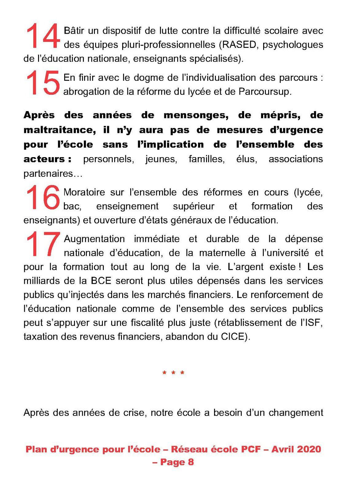 PCF - Un plan d'urgence pour l'éducation