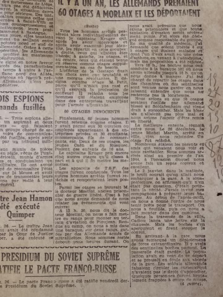 Le Télégramme de Brest et de l'Ouest - 27 décembre 1944
