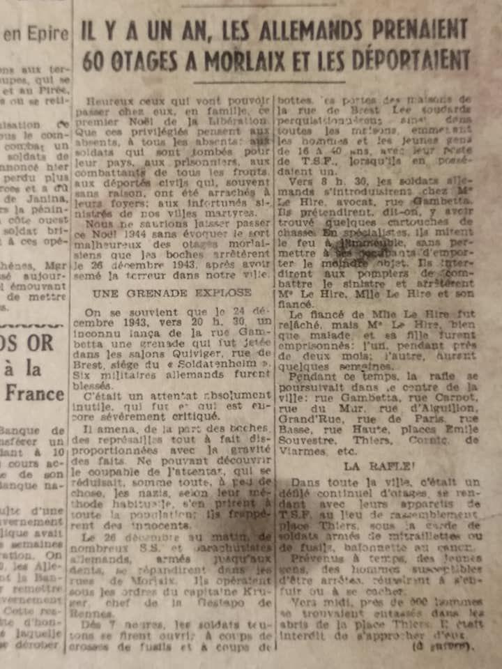 Le Télégramme de Brest et de l'Ouest - 26 décembre 1944