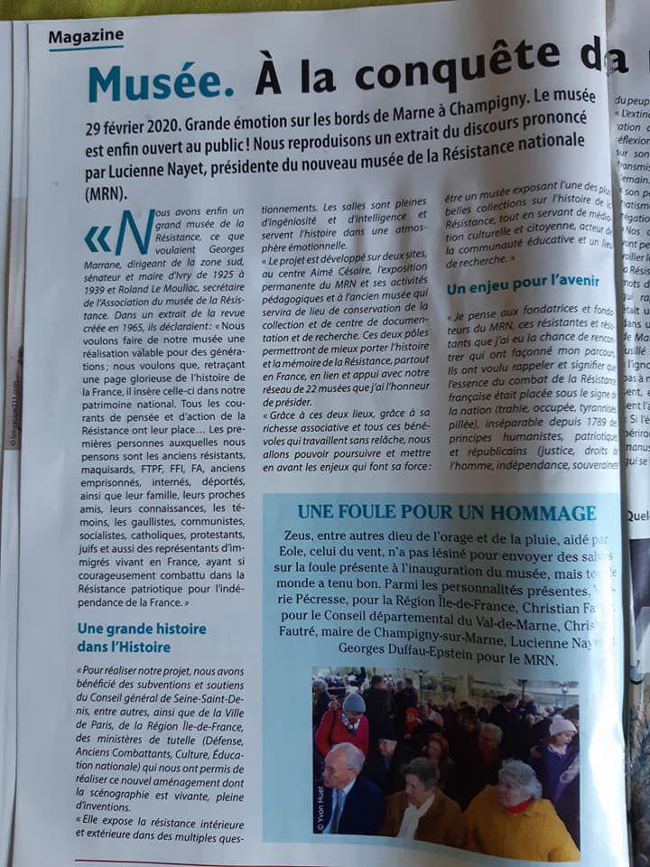 Article d'Yvon Huet dans la Vie Nouvelle de mai-juin 2020 sur l'inauguration du nouveau musée de la résistance de Champigny sur Marne avec Lucienne Nayet