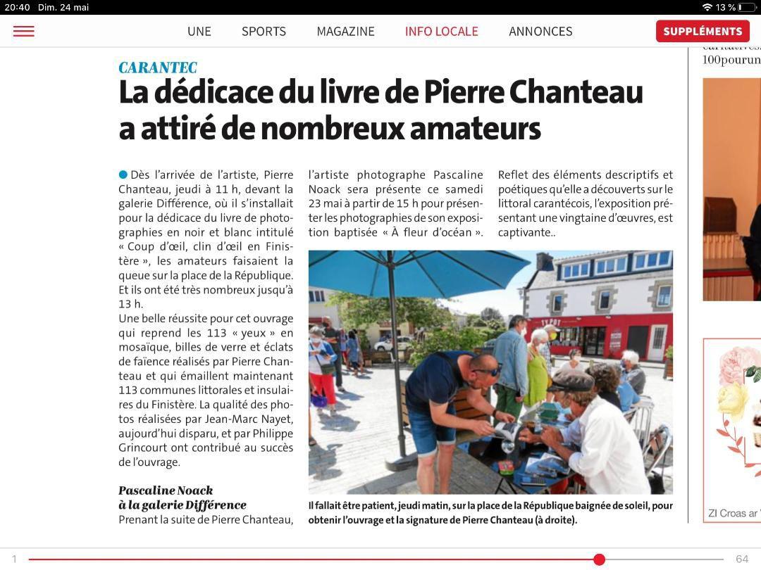 Carantec. La dédicace de Pierre Chanteau a attiré de nombreux amateurs (Le Télégramme, 24 mai 2020)
