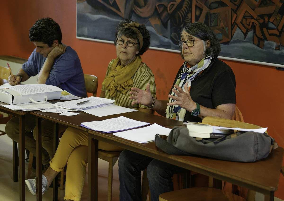 Lucienne Nayet avec Marie-Noëlle Postic pour une conférence des mardis de l'éducation populaire sur l'histoire de l'antisémitisme français
