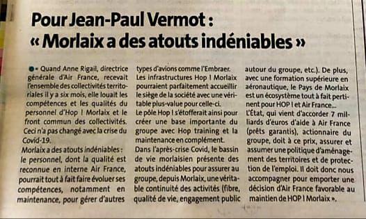 Expression de Jean-Paul Vermot, le Télégramme, 28 mai 2020