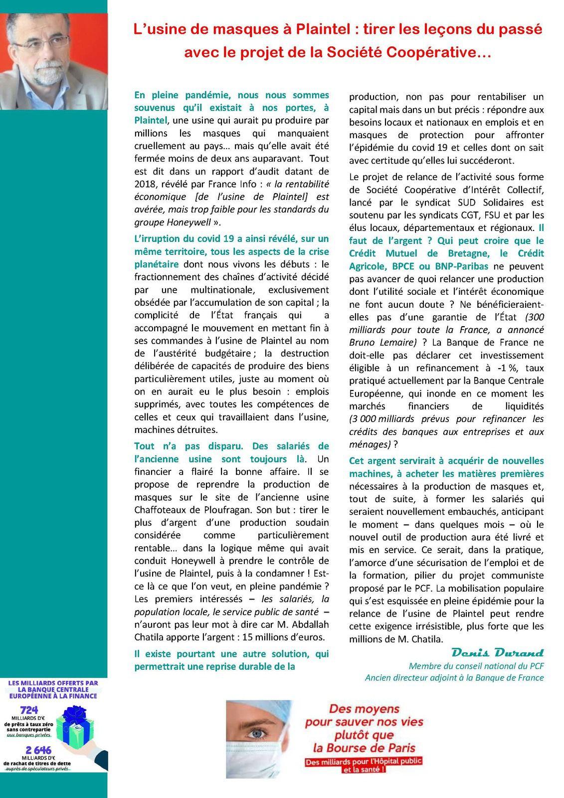 A COEUR OUVERT (Journal PCF Bretagne - Juin 2020)
