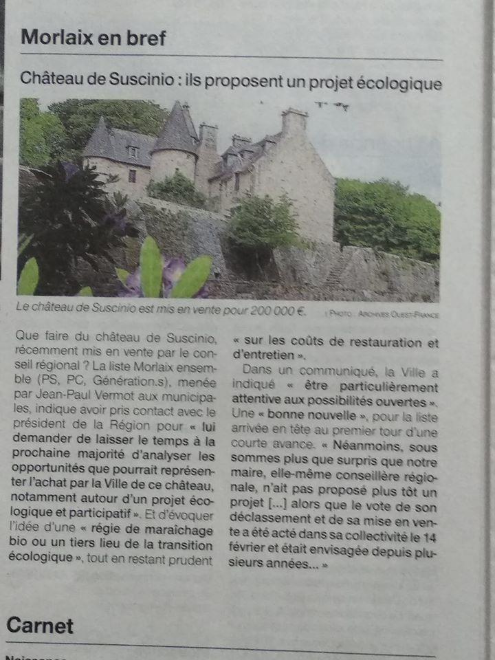Ouest-France, Morlaix, 10 juin 2020