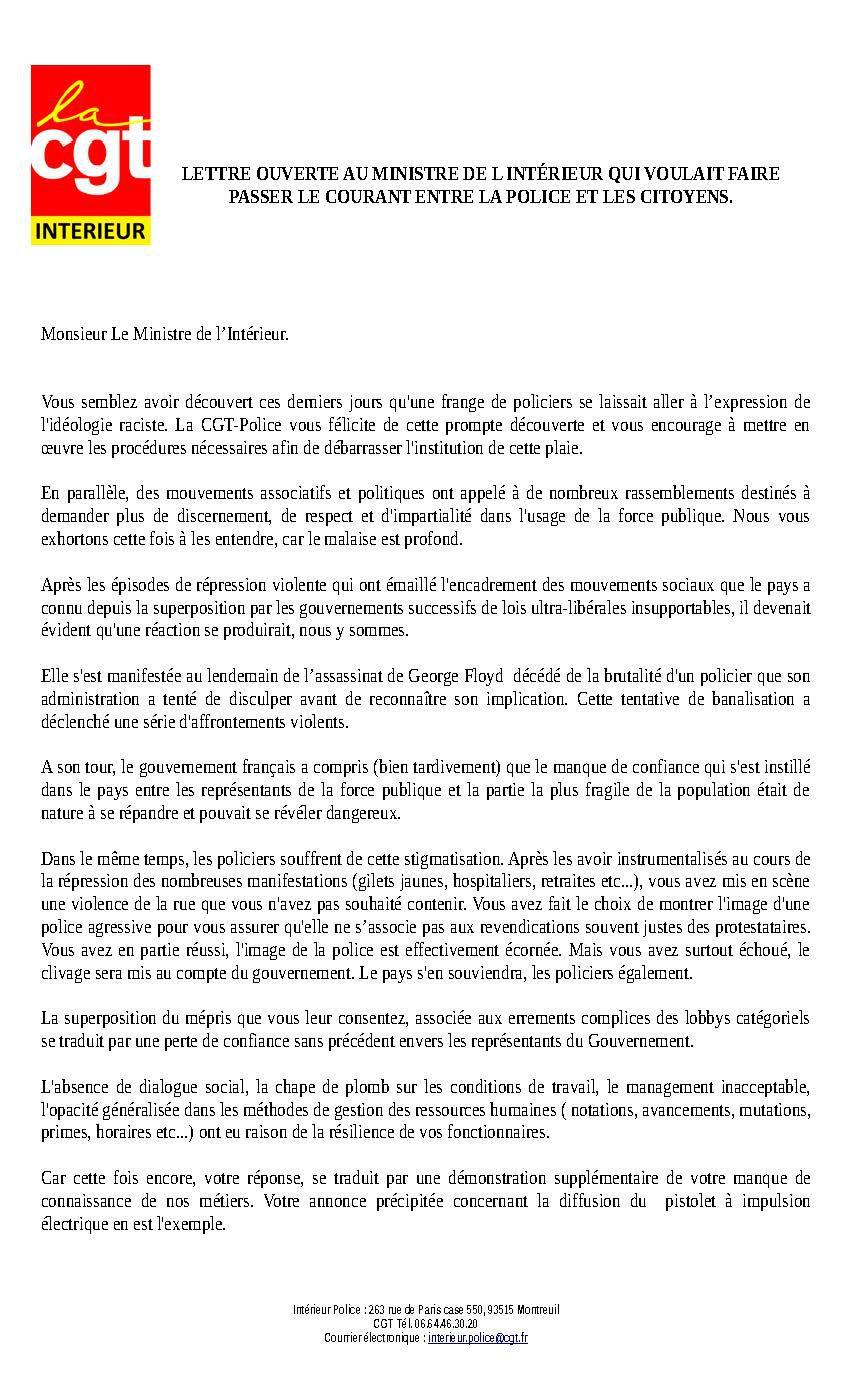 CGT Intérieur - Lettre ouverte au Ministre de l'Intérieur qui voulait faire passer le courant entre la police et les citoyens