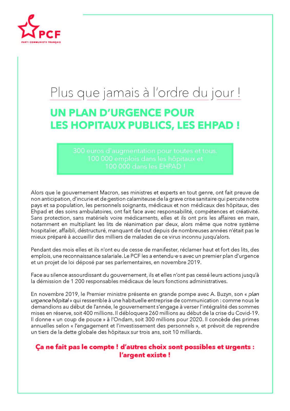 PCF - Plus que jamais à l'ordre du jour ! Un plan d'urgence pour les hôpitaux publics et les Ehpad