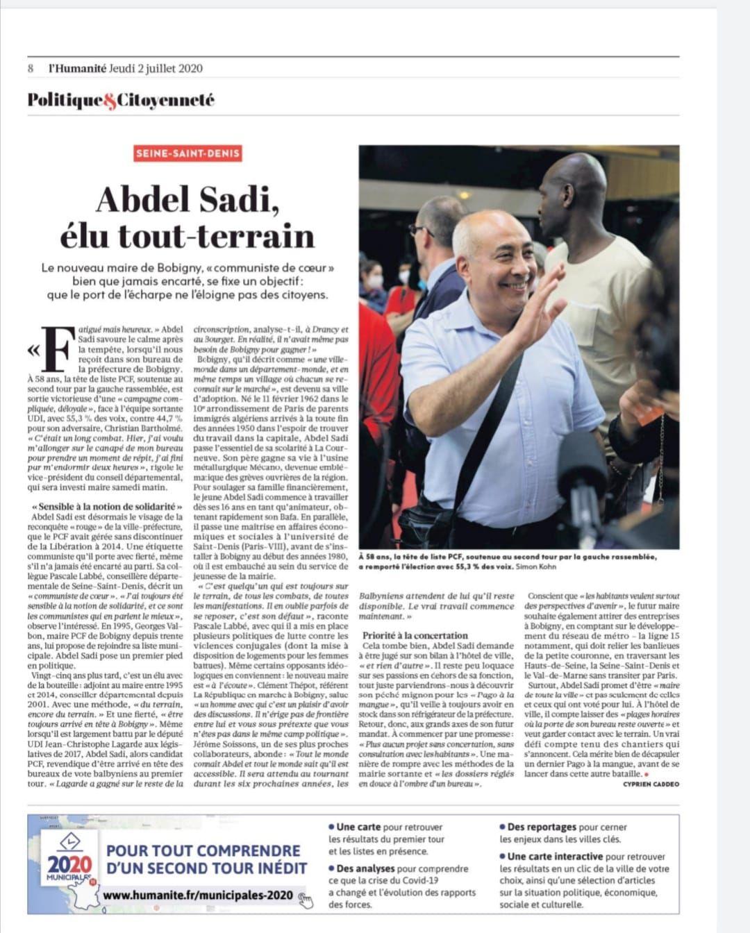 Seine-Saint-Denis. Abdel Sadi, élu communiste tout-terrain à Bobigny - L'Humanité, Cyprien Caddeo, 2 juillet 2020