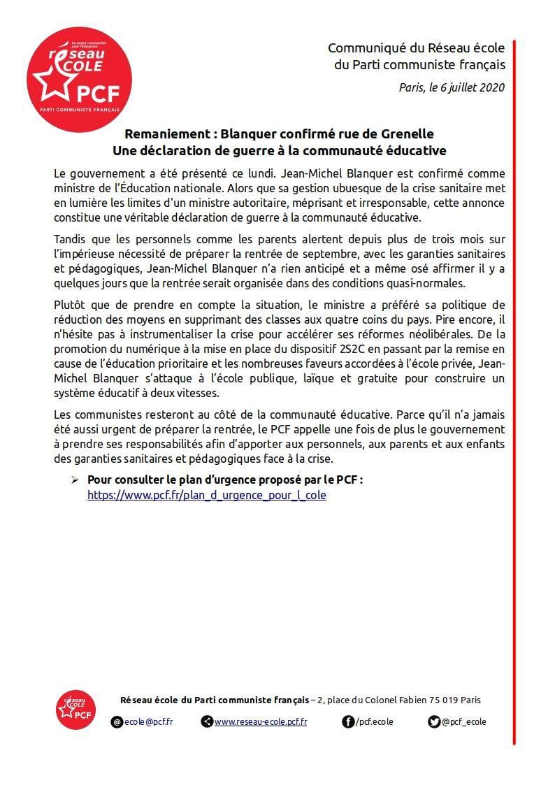 Nouveau gouvernement: confirmation de Blanquer, honni par les enseignants, à l'éducation nationale: communiqué du réseau école du Parti communiste