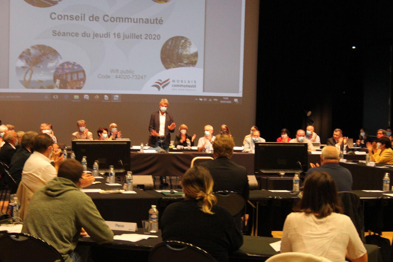 Conseil communautaire du 16 juillet 2020 - élection du président Jean-Paul Vermot, des vice-présidents et conseillers délégués - Photos Jean-Luc Le Calvez et Ismaël Dupont