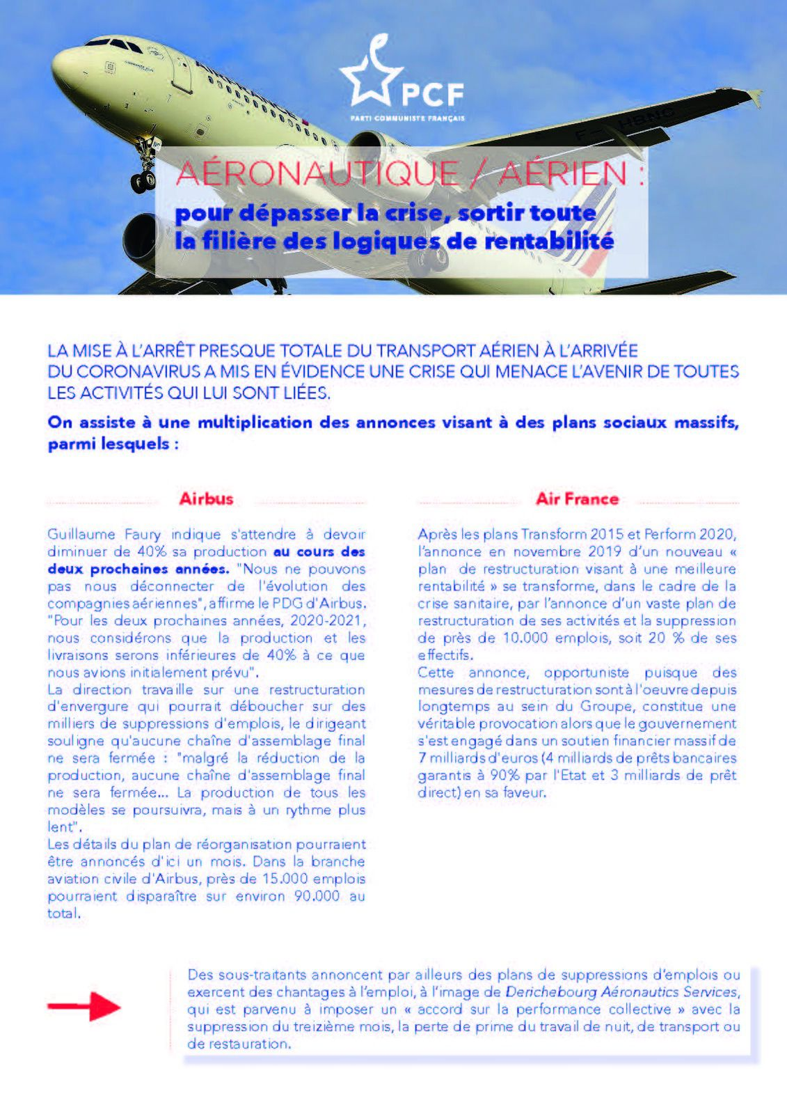 PCF - Aéronautique / aérien : Pour dépasser la crise, sortir des logiques de rentabilités