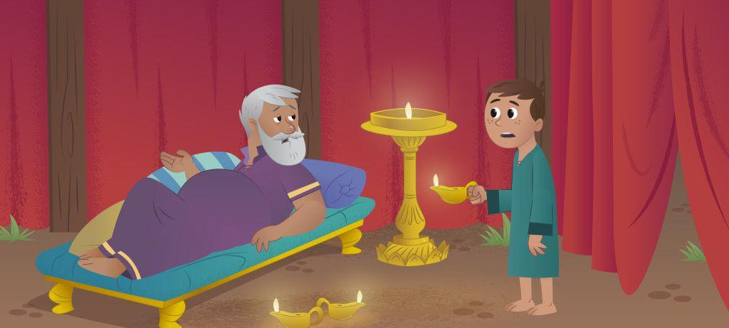 Le prêtre Eli va aider le jeune Samuel à découvrir que celui qui parle est le Seigneur Dieu