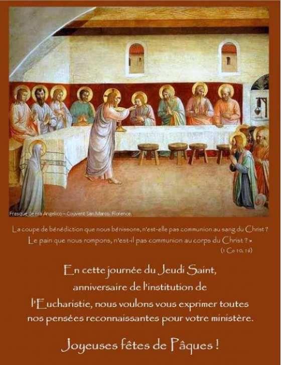 Jeudi saint : bonne fête aux prêtres