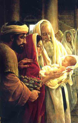 Marie, Joseph et Syméon portant dans ses bras Jésus