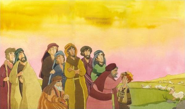 Dieu a choisit le jeune David et Samuel lui fait l'onction d'huile