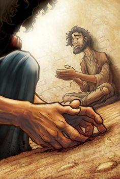 Jésus crache et fait de la boue qu'il va mettre sur les yeux de l'aveugle de naissance