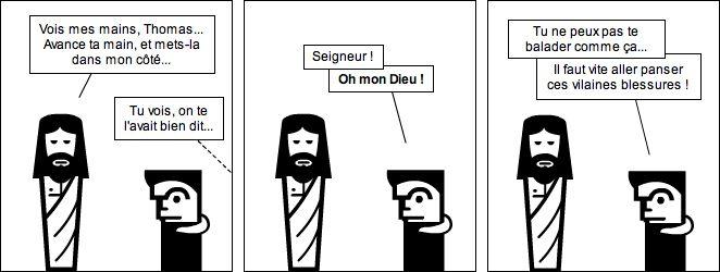 Jésus ressuscité, les apôtres et Thomas : les plaies