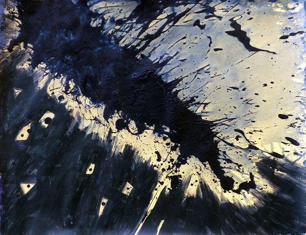 Peinture de Martine Poirier : le bas de la composition, initialement clair et simplement constellé de petites taches, est peint de la même couleur que le splash, en laissant quelques petites formes géométriques en réserve, pour créer un effet de lumière en contrejour.