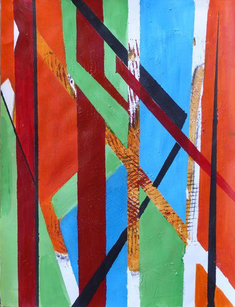 Peinture et collage de Sylviane Samy-Mauduit