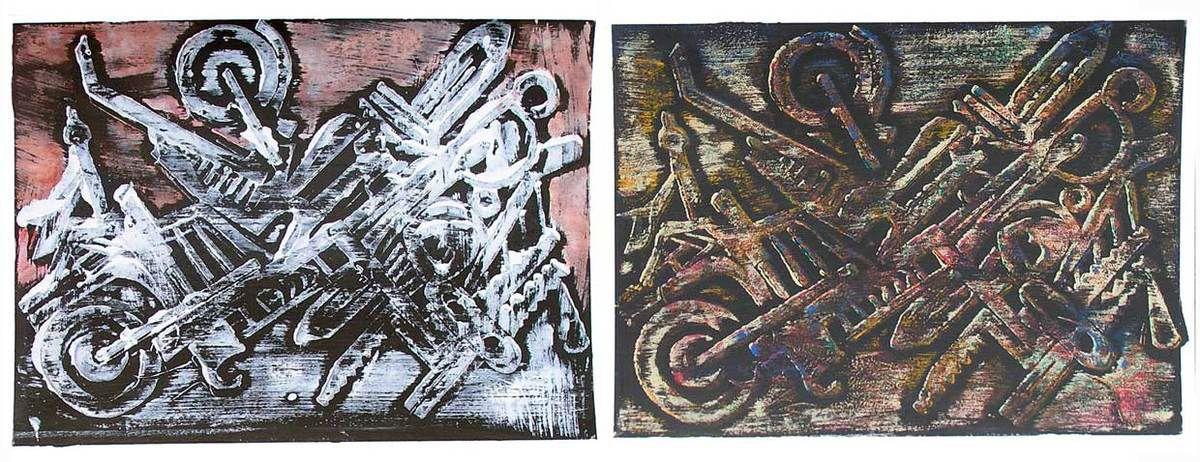 Kati Kukkasniemi 2008 - Machine à peindre - Monotypes sur papier 50 x 65 cm