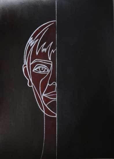 Peinture de Jocelyne Hassel (même un demi portrait peut avoir de la gueule)