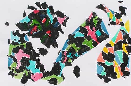 Jacqueline Putatti 2013 - Idée de peinture 169 - Bijoux organiques - Acrylique sur papier 50 x 65cm