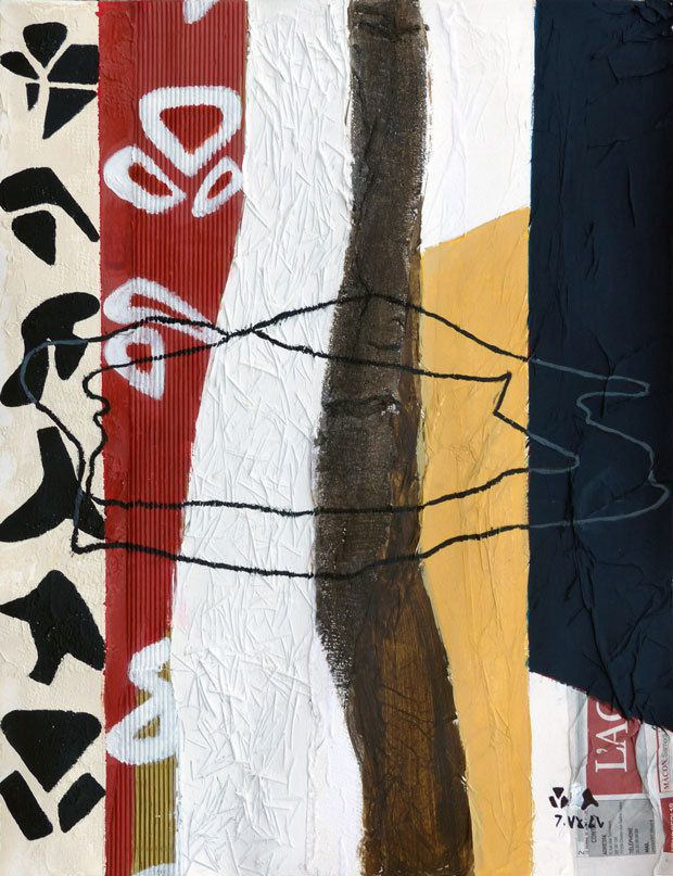 Peinture et collage de Nathalie Facotti
