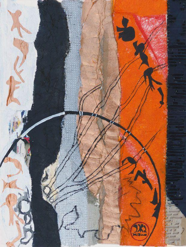 Peinture et collage d'Elyane Meneaud