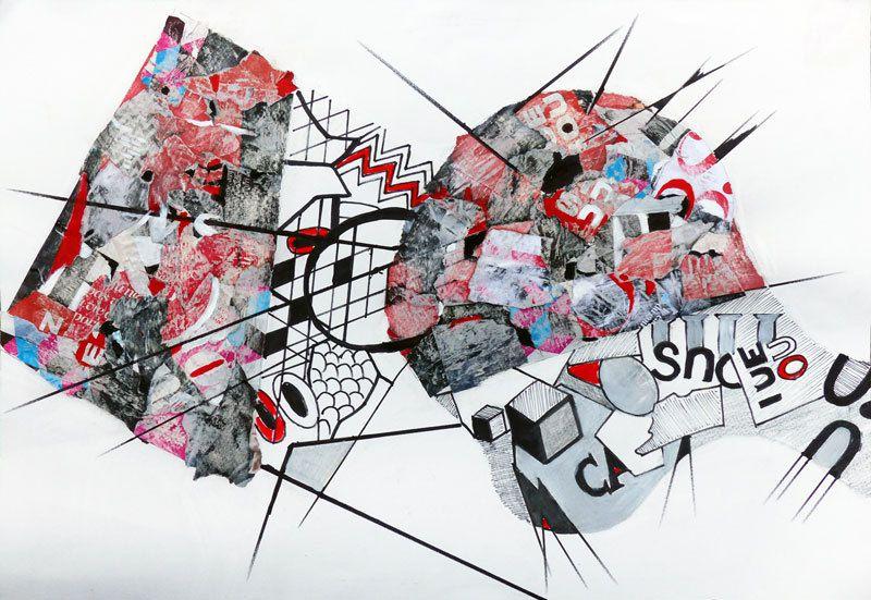 Peinture et collage de Jeanine Mandille