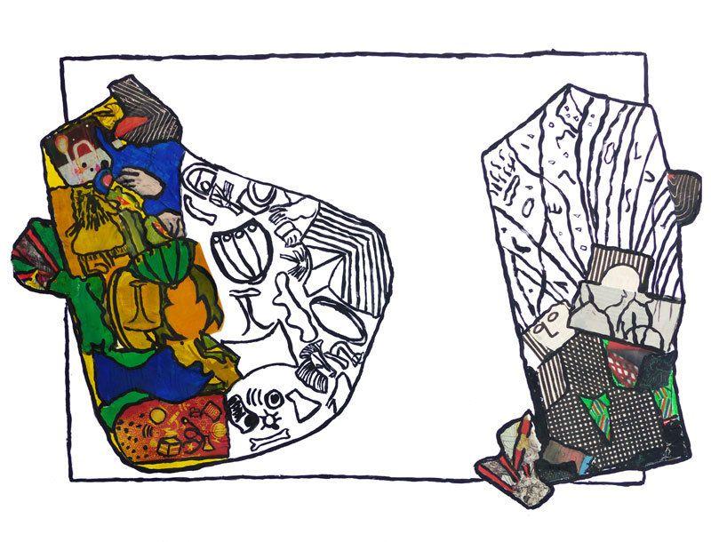 Peinture et collage d'Elise Nsongo