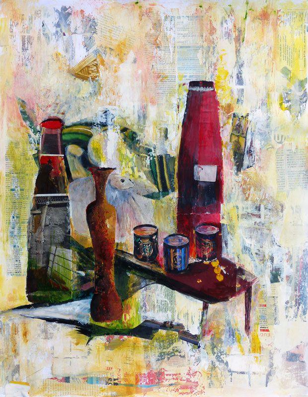 Collage et peinture de Simone Guignard