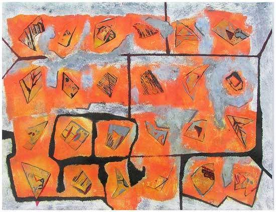 Peinture et collage de Françoise Kahane