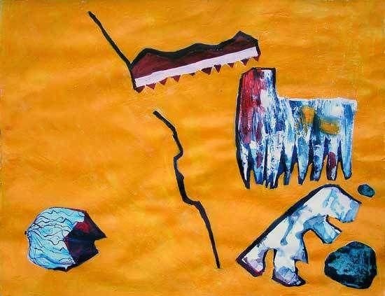 Peinture et collage de Martine Poirier