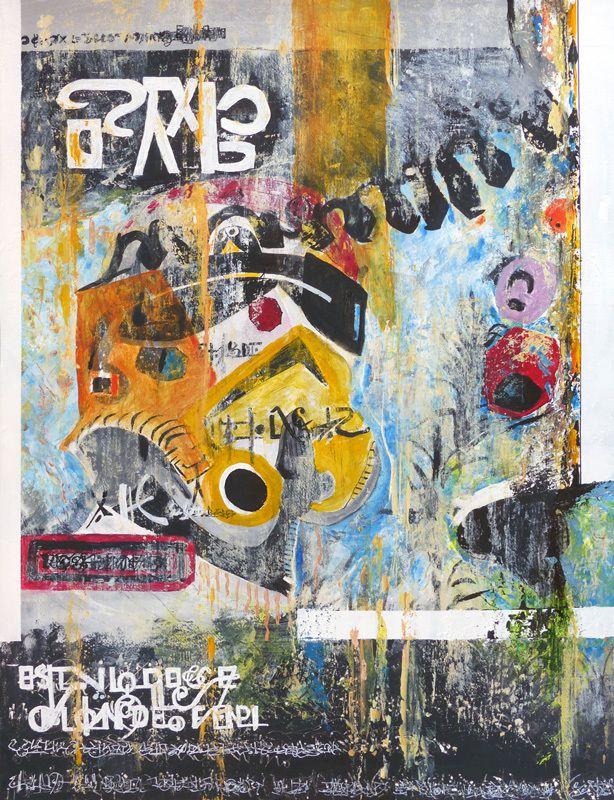 Peinture et collage d'Eliane Moulins